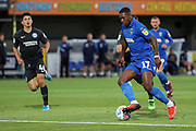 AFC Wimbledon attacker Michael Folivi (17) dribbling into box during the EFL Trophy (Leasing.com) match between AFC Wimbledon and U23 Brighton and Hove Albion at the Cherry Red Records Stadium, Kingston, England on 3 September 2019.