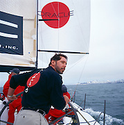 Larry Ellison, founder of Oracle, second largest software company in the world on his sailing yacht Sayonara in San Francisco Bay, California.  The famed yachtsman is well-known for winning the Sydney-Hobart Race during a storm which claimed several lives.    Ellison spends much of his free time sailing and vacationing on one of two motor yachts that he keeps in separate oceans.