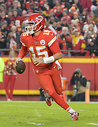 Dec 13, 2018; Kansas City, MO, USA; Kansas City Chiefs quarterback Patrick Mahomes (15) looks to pass during the second half against the Los Angeles Chargers at Arrowhead Stadium. The Chargers won 29-28. Mandatory Credit: Denny Medley-USA TODAY Sports