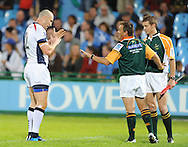 PRETORIA, South Africa, 14 May 2011. Stirling Mortlock (Capt) of the Melbourne Rebels talking to referee, Chris Pollock during the Super15 Rugby match between the Bulls and the Melbourne Rebels at Loftus Versfeld in Pretoria, South Africa on 14 May 2011..Photographer : Anton de Villiers / SPORTZPICS