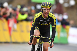 March 10, 2018 - Sisteron, FRANCE - Britain's Simon Yates of Mitchelton - Scott celebrates as he crosses the finish line to win the sixth stage of the 76th edition of Paris-Nice cycling race, 188km from Sisteron to Vence, France, Friday 09 March 2018. The race starts on the 4th and ends on the 11th of March. BELGA PHOTO DAVID STOCKMAN (Credit Image: © David Stockman/Belga via ZUMA Press)