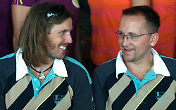 Luka Spik, Member of Slovenian Rowing Olympic Team and Martin Hvastija at departure to Beijing 2008 Olympic games, on July 31, 2008, at Airport Jozeta Pucnika, Brnik, Slovenia. (Photo by Vid Ponikvar / Sportal Images)/ Sportida)