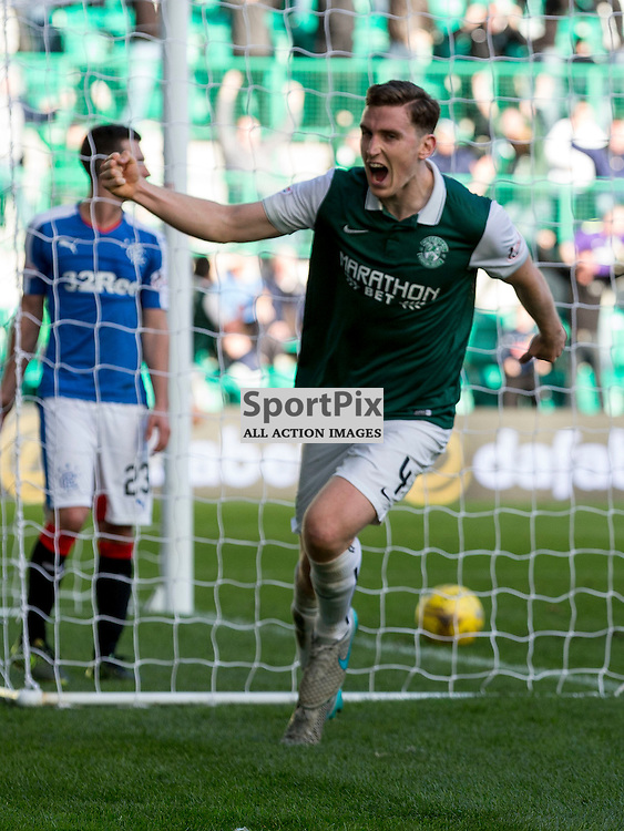 Hibernian FC v Rangers FC <br /> <br /> Paul Hanlon (Hibernian) celebrates Hibs winning goal during the SPFL Championship match between Hibernian FC and Rangers FC at Easter Road Stadium on Sunday 1 November 2015.<br /> <br /> Picture Alan Rennie.