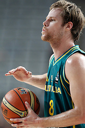 07.09.2014, Palau Sant Jordi, Barcelona, ESP, FIBA WM, Australien vs Türkei, Achtelfinale, im Bild Australia's Brad Newley // during FIBA Basketball World Cup Spain 2014 round of 16 match between Australia and Turkey at the Palau Sant Jordi in Barcelona, Spain on 2014/09/07. EXPA Pictures © 2014, PhotoCredit: EXPA/ Alterphotos/ Acero<br /> <br /> *****ATTENTION - OUT of ESP, SUI*****