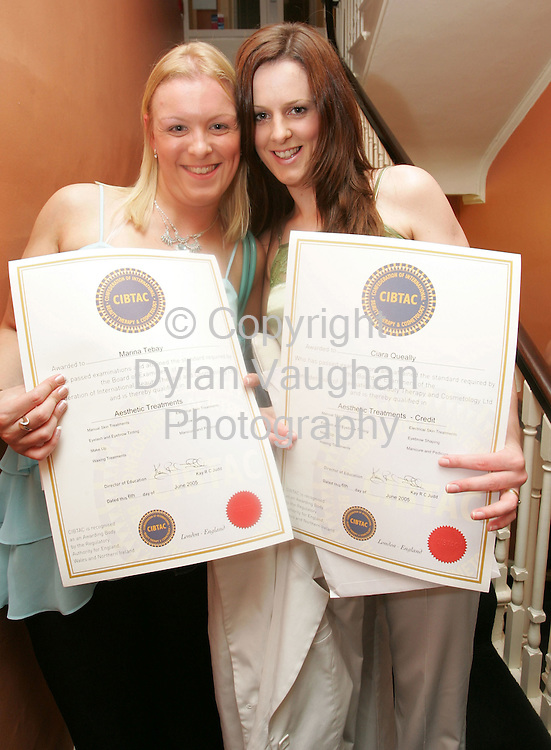 5/9/2005.Pictured at The Institute of Beauty and Complementary Therapies' graduation ceremony in Waterford was Marina Tebay, Waterford City and Ciara Queally, Kilmacthomas..Picture Dylan Vaughan.