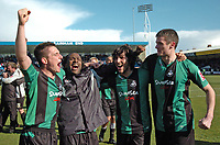 Photo: Tony Oudot/Richard Lane Photography. <br /> Gilingham Town v Swansea City. Coca-Cola League One. 12/04/2008. <br /> Swansea players left to right Marcos Painter, Jason Scotland, Guillem Bauza and Owain Tudur Jones celebrate their promotion to the Championship
