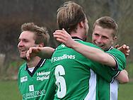 Thomas Ryttov, Christoffer Thaysen og Jonas Rohrberg jubler over scoring.