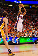 May 23, 2010; Phoenix, AZ, USA; Phoenix Suns forward Grant Hill (33) puts up a shot during the first half in game three of the western conference finals in the 2010 NBA Playoffs at US Airways Center.  Mandatory Credit: Jennifer Stewart-US PRESSWIRE
