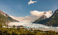 Spencer Glacier in the Chugach National Forest in Southcentral Alaska. Summer. Evening.