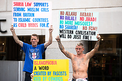 "© Licensed to London News Pictures . 24/06/2017. London, UK. The English Defence League ( EDL ) hold a March on Parliament , from Charing Cross to Victoria Embankment , opposed by  a counter demonstration by Unite Against Fascism . Scotland Yard said it was using public order laws to restrict the marches ""due to concerns of serious public disorder, and disruption to the community"" following terrorist attacks in Manchester , Westminster and Finsbury Park and the Grenfell Tower fire  . Photo credit: Joel Goodman/LNP"