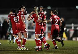 Rosella Ayane of Bristol City Women celebrates with Millie Farrow of Bristol City Women - Mandatory by-line: Dougie Allward/JMP - Mobile: 07966 386802 - 23/03/2016 - FOOTBALL - Stoke Gifford Stadium - Bristol, England - Bristol City Women v Yeovil Town Ladies - FA Women's Super League 2
