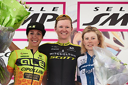 Top three: Jolien D'hoore (BEL), Marta Bastianelli (ITA) and Lotta Lepistö (FIN) at Giro Rosa 2018 - Stage 4, a 109 km road race starting and finishing in Piacenza, Italy on July 9, 2018. Photo by Sean Robinson/velofocus.com