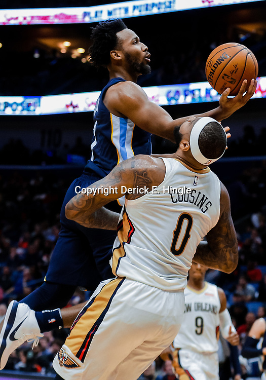 Jan 20, 2018; New Orleans, LA, USA; Memphis Grizzlies guard Wayne Selden (7) is called for charging against New Orleans Pelicans center DeMarcus Cousins (0) during the first half at the Smoothie King Center. Mandatory Credit: Derick E. Hingle-USA TODAY Sports