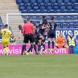 Josh Mullin of Livingston scores a delightful free kick to put the visitors two nil up. Falkirk v Livingston, Ladbrokes Championship, 23rd September 2017. (c) Paul Cram | SportPix