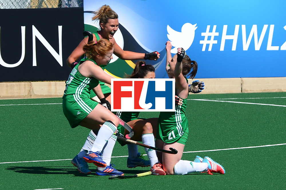 JOHANNESBURG, SOUTH AFRICA - JULY 22: Lizzie Colvin of Ireland celebrate with her team mates during day 8 of the FIH Hockey World League Women's Semi Finals 7th-8th place match between India and Ireland at Wits University on July 22, 2017 in Johannesburg, South Africa. (Photo by Getty Images/Getty Images)