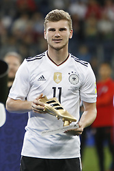 July 3, 2017 - Saint Petersburg, Russia - Timo Werner of Germany national team with Golden Boot trophy during award ceremony after FIFA Confederations Cup Russia 2017 final match between Chile and Germany at Saint Petersburg Stadium on July 2, 2017 in Saint Petersburg, Russia. (Credit Image: © Mike Kireev/NurPhoto via ZUMA Press)