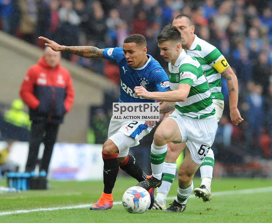 Kieran Tierney  and James Tavernier battle for the ball in the match between Rangers v Celtic, Betfred Cup semi-final, Hampden Park, Sunday 23 October 2016, (c) Angie Isac | SportPix.org.uk