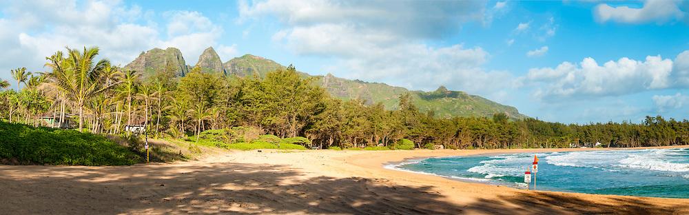 Anahola beach & Anahola Mountains, Kauai, Hawaii