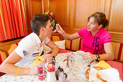 Barbara Jezersek and  Vesna Fabjan during lunch during Training camp of Slovenian Cross country Ski team on October 23, 2012 in Ramsau am Dachstein, Austria. (Photo By Vid Ponikvar / Sportida)