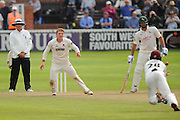 Dom Bess of Somerset taking the wicket of Jake Libby of Nottinghamshire who was caught by Tom Abell of Somerset during the Specsavers County Champ Div 1 match between Somerset County Cricket Club and Nottinghamshire County Cricket Club at the Cooper Associates County Ground, Taunton, United Kingdom on 21 September 2016. Photo by Graham Hunt.