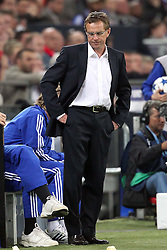 26.04.2011, Veltins Arena, Gelsenkirchen, GER, UEFA CL, Halbfinale Hinspiel, Schalke 04 (GER) vsManchester United (ENG), im Bild: Ralf Rangnick (Trainer Schalke 04) entaeuscht / entäuscht   // during the UEFA CL, Semi Final first leg, Schalke 04 (GER) vs Manchester United (ENG), at the Veltins Arena, Gelsenkirchen, 26/04/2011 EXPA Pictures © 2011, PhotoCredit: EXPA/ nph/  Mueller *** Local Caption ***       ****** out of GER / SWE / CRO  / BEL ******