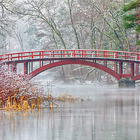 Sargent Bridge, is a red wooden arch bridge surrounded by a winter wonderland, located in the Town of Natick, Massachusetts.  <br />