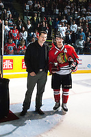 KELOWNA, CANADA - APRIL 25: Nicolas Petan #19 of the Portland Winterhawks accepts the MVP award on April 25, 2014 during Game 5 of the third round of WHL Playoffs at Prospera Place in Kelowna, British Columbia, Canada. The Portland Winterhawks won 7 - 3 and took the Western Conference Championship for the fourth year in a row earning them a place in the WHL final.  (Photo by Marissa Baecker/Getty Images)  *** Local Caption *** Nicolas Petan;