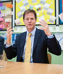 ***STRICT EMBARGO UNTIL 12:01AM 13/06/14*** © Licensed to London News Pictures. 12/06/2014. Carshalton, UK.Nick Clegg. Deputy Prime Minister and leader of the Liberal Democrats, Nick Clegg, visits Carshalton High School for Girls in Surrey today 12th June 2014. He was joined by Schools Minister David Laws and local Liberal Democrat MP Tom Brake.  Photo credit : Stephen Simpson/LNP