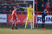 Fleetwood Town defender & goal scorer Harry Souter (12) organises his defence during the EFL Sky Bet League 1 match between Accrington Stanley and Fleetwood Town at the Fraser Eagle Stadium, Accrington, England on 30 March 2019.