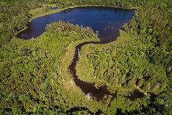 An aerial view of the West Branch of the Pleasant River and Little Lyford Pond in Maine's 100 Mile Wilderness.