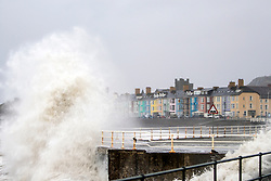 © Licensed to London News Pictures. 23/12/2013. Aberystwyth, UK Stormy seas at Aberystwyth this morning, 23rd December 2013. There are 127 flood alerts in place across the UK as stormy weather reaches the country. Photo credit : Jon Freeman/LNP