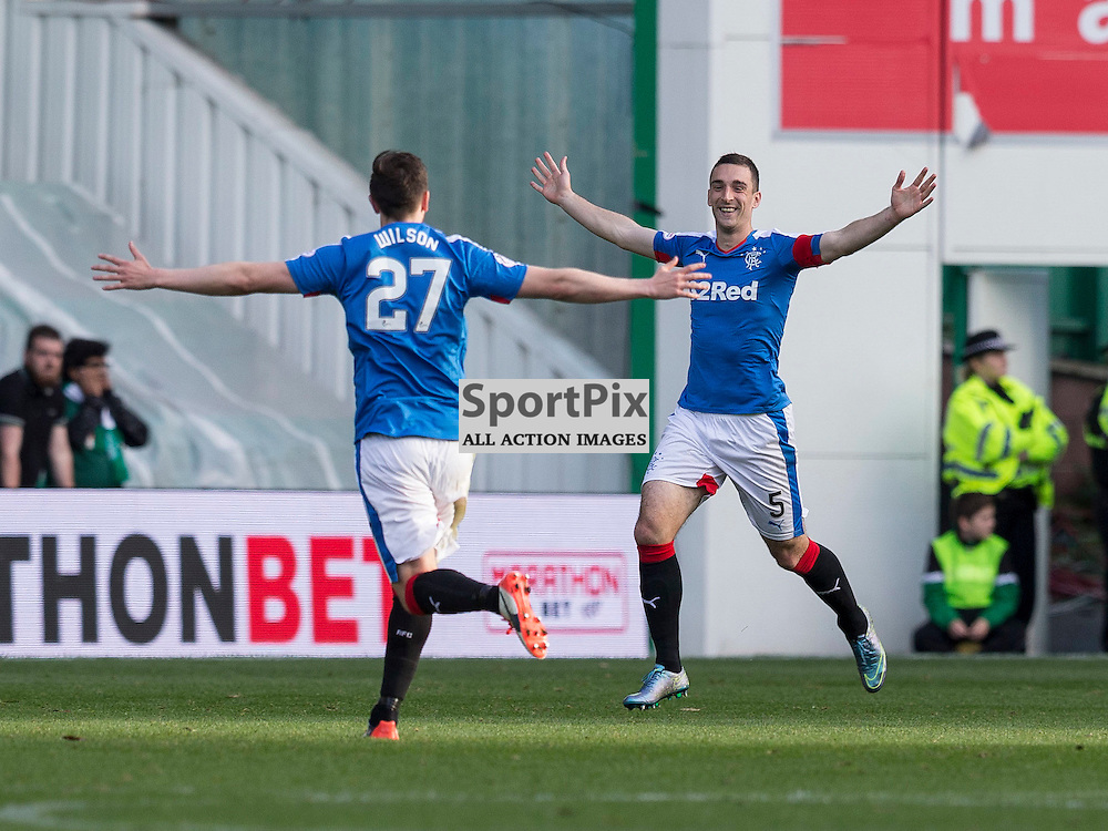 Hibernian FC v Rangers FC <br /> <br /> Lee Wallace (Rangers) celebrates goal during the SPFL Championship match between Hibernian FC and Rangers FC at Easter Road Stadium on Sunday 1 November 2015.<br /> <br /> Picture Alan Rennie.