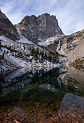 Hallett Peak reflects in the crystalline waters of Emerald Lake, near Tyndall Gorge in Rocky Mountain National Park, Colorado.