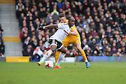 Fulham midfielder Neeskens Kebano (07) shielding the ball from Preston North End midfielder Alan Browne (8) during the EFL Sky Bet Championship match between Fulham and Preston North End at Craven Cottage, London, England on 4 March 2017. Photo by Matthew Redman.