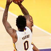27 November 2016: Los Angeles Lakers guard Nick Young (0) takes a jump shot over Atlanta Hawks center Dwight Howard (8) during the Los Angeles Lakers 109-94 victory over the Atlanta Hawks, at the Staples Center, Los Angeles, California, USA.