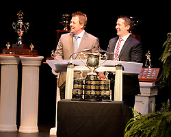 Sam Cosentino (left) and RJ Broadhead of Sportsnet at the 2013-14 Canadian Hockey League Awards Ceremony at the Grand Theatre in London, ON on Saturday May 24, 2014. Photo by Aaron Bell/CHL Images