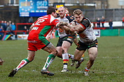 Bradford Bulls hooker Sam Hallas (9) in action  during the Betfred League 1 match between Keighley Cougars and Bradford Bulls at Cougar Park, Keighley, United Kingdom on 11 March 2018. Picture by Simon Davies.