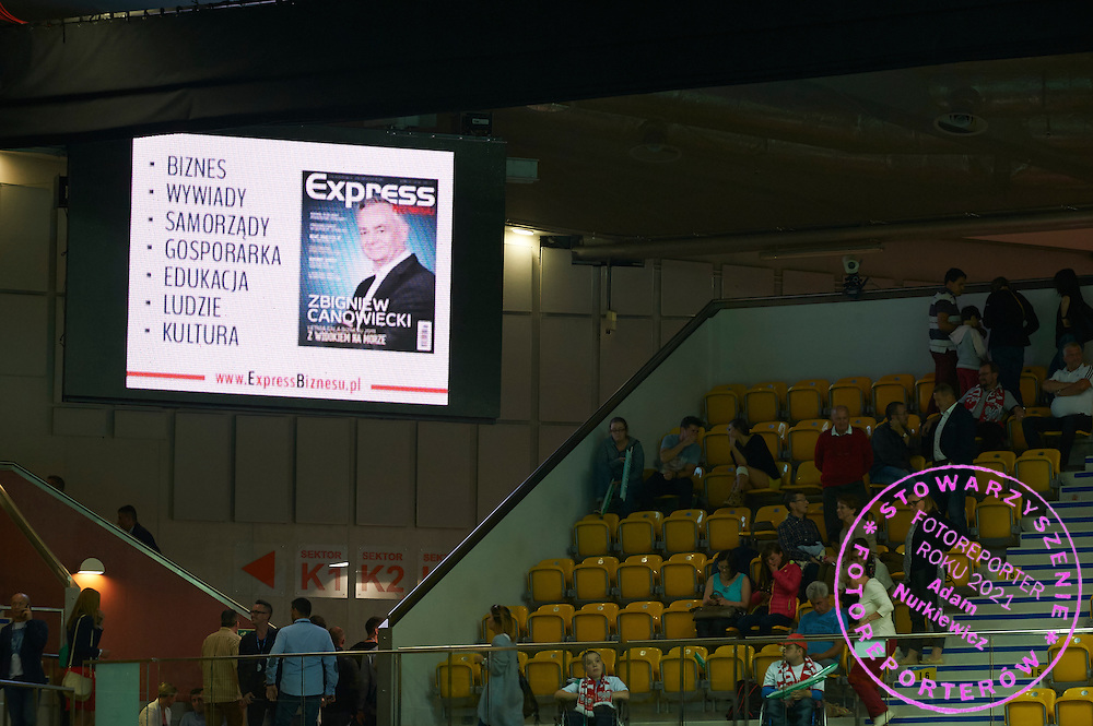Express Daily advertise on display board during Davis Cup Tie World Group Play-off Poland v Slovakia at Gdynia Arena Hall in Gdynia, Poland.<br /> <br /> Poland, Gdynia, September 18, 2015<br /> <br /> Picture also available in RAW (NEF) or TIFF format on special request.<br /> <br /> For editorial use only. Any commercial or promotional use requires permission.<br /> <br /> Adam Nurkiewicz declares that he has no rights to the image of people at the photographs of his authorship.<br /> <br /> Mandatory credit:<br /> Photo by &copy; Adam Nurkiewicz / Mediasport
