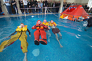 Sebastien Duvail of Guy Cotten , Robbie McArdle Galway lifeboat, Tony brown of Sioen and Patrick Oliver  Galway lifeboat  demonstrating during the  Skipper International Expo<br /> Photo:Andrew Downes