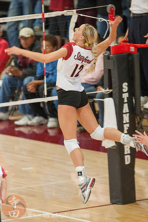 November 25, 2006; Stanford, CA, USA; Stanford Cardinal outside hitter Erin Waller (12) during the game against the Washington State Cougars at Maples Pavilion. The Cardinal defeated the Cougars 30-27, 30-23, 30-18.