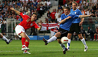 Photo: Paul Thomas.<br /> Estonia v England. UEFA European Championships Qualifying, Group E. 06/06/2007.<br /> <br /> Joe Cole of England scores.