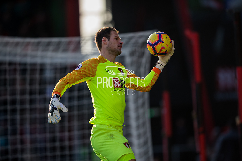 Asmir Begovic (GK) (Bournemouth) with the ball during the Premier League match between Bournemouth and Arsenal at the Vitality Stadium, Bournemouth, England on 25 November 2018.