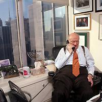 Former New York City mayor Ed Koch at work in his office at Bryan Cave, LLC above midtown Manhattan in New York, New York on Thursday December 27, 2007.<br /> Shmuel Thaler/Santa Cruz Sentinel
