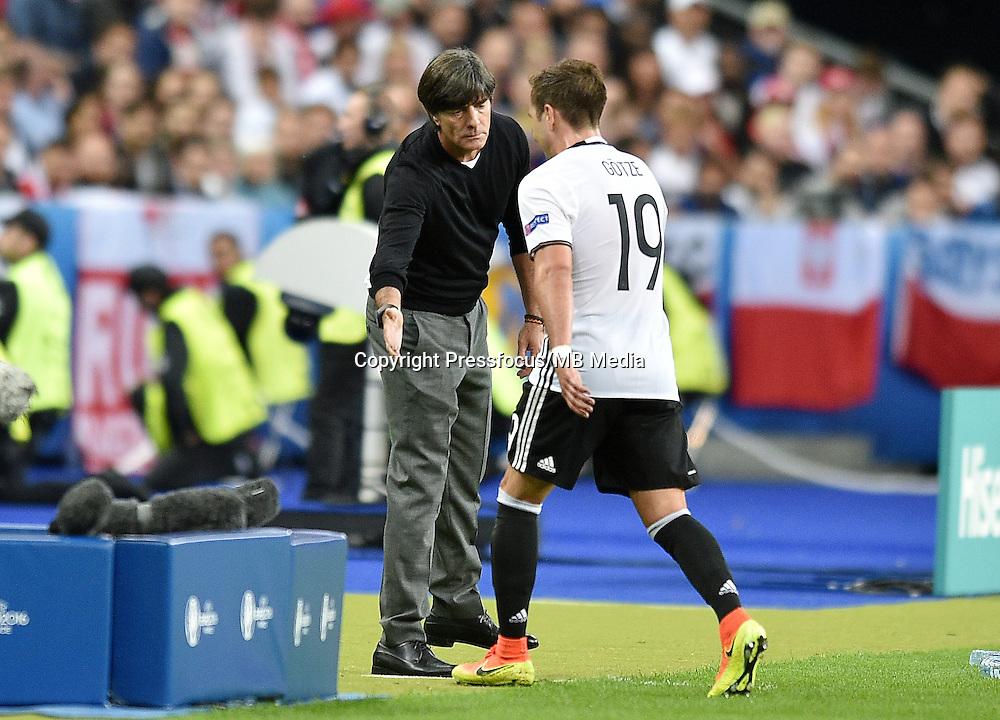 2016.06.16 Saint-Denis<br /> Football UEFA Euro 2016 group C game between Poland and Germany<br /> Joachim Loew trener head coach, Mario Gotze<br /> Credit: Lukasz Laskowski / PressFocus