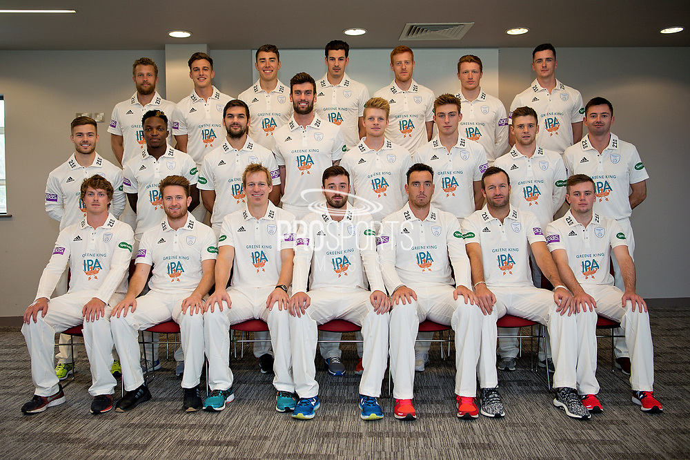 Hampshire squad Specsavers County Championship Kit. (back row l-r) Gareth Berg, Brad Wheal, Joe Weatherley, Chris Wood, Ryan Stevenson, Thomas Alsop, Chris Sole. (middle row l-r) Lewis McManus, Fidel Edwards, Rilee Russouw, Reece Topley, Brad Taylor, Asher Hart, Calvin Dickinson, Ian Holland. (front row l-r) Sam Northeast, Liam Dawson, Jimmy Adams, James Vince, Kyle Abbott, Sean Ervine, Mason Crane.   during the Hampshire County Cricket Club Media Day at the Ageas Bowl, Southampton, United Kingdom on 10 April 2018. Picture by Dave Vokes.