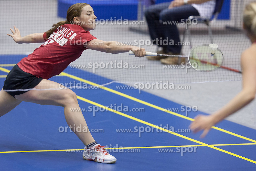 Nicole Schaller of Switzerland during women finals at Slovenia Open Badminton tournament 2012, on May 13, 2012, in Medvode, Slovenia. (Photo by Grega Valancic / Sportida.com)