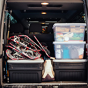 Supplies are loaded into a Mercedes Benz Sprinter in Yellowstone National Park.