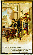 Francois I (1494-1547) King of France from 1515. At the Battle of Pavia, 24 February 1525,  he was captured by the Spanish troops and imprisoned by Charles V.  Here, under guard, he is writing to his mother Louise of Savoy informing her of the diastrous battle.  19th century chromolithograph.