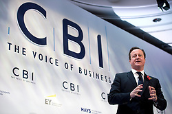 © London News Pictures. 04/11/2013 . London, UK. British Prime Minister DAVID CAMERON delivers a speech at the 2013  Confederation of British Industry (CBI) Conference, held at the Hilton Metropole in London. Photo credit : Ben Cawthra/LNP