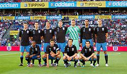 26.05.2012, Ullevaal Stadion, Oslo, NOR, UEFA EURO 2012, Testspiel, Norwegen vs England, im Bild England players line up for a team group photograph before the international friendly match against Norway at the Ullevaal Stadion. Back row L-R: James Milner (Manchester City), Stewart Downing (Liverpool), Phil Jagielka, Phil Jones (Manchester United), goalkeeper Robert Green (West Ham United), Joleon Lescott (Manchester City) and Andy Carroll (Liverpool). Front row L-R: Ashley Young (Manchester United), captain Steven Gerrard (Liverpool), Scott Parker (Tottenham Hotspur) and Leighton Baines (Everton)during the Preparation Game for the UEFA Euro 2012 betweeen Norway and England at the Ullevaal Stadium, Oslo, Norway on 2012/05/26. EXPA Pictures © 2012, PhotoCredit: EXPA/ Propagandaphoto/ Vegard Grott..***** ATTENTION - OUT OF ENG, GBR, UK *****